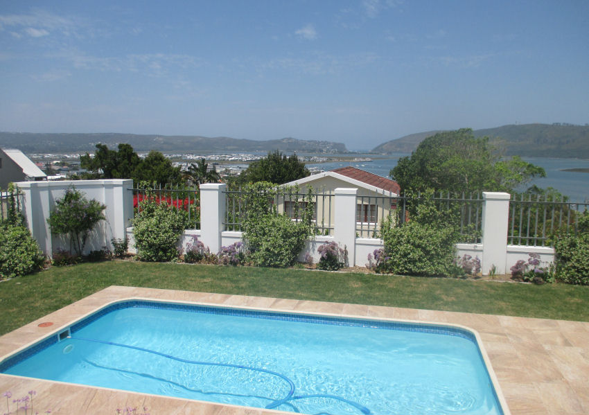 Pool and entertainment area at Westhill Knysna